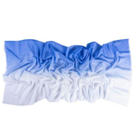Esarfa lana si casmir Marina D'Este 2 tones blue