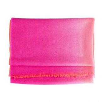 Esarfa lana si casmir Marina D'Este 2 tones pink orange