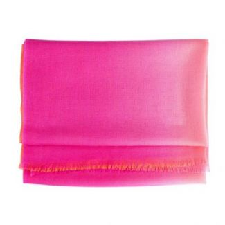Wool and cashmere scarf Marina D'Este 2 tones pink orange
