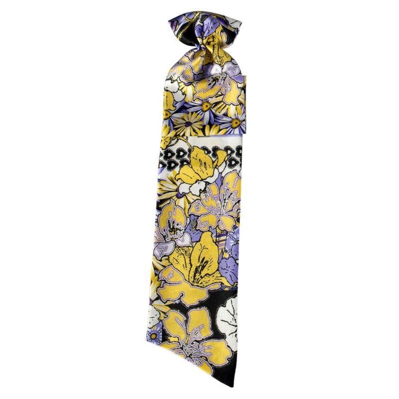 Eşarfă cu volan floricele pe lavandă