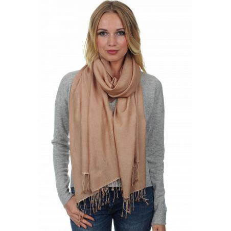 Cashmere and Silk scarf Intense Pink Beige