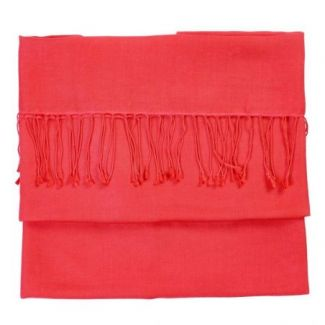 Cashmere and silk scarf Bright Coral