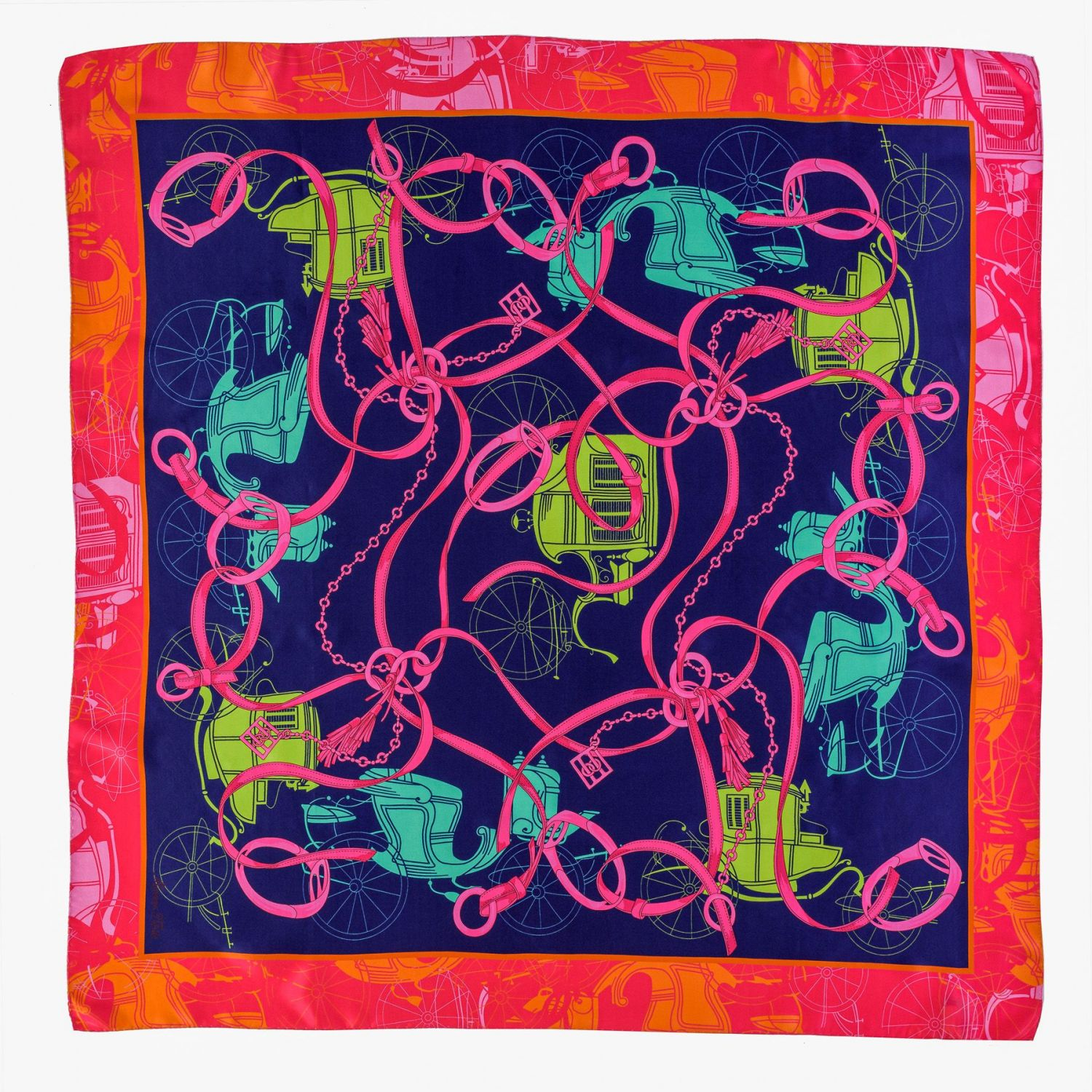 Silk scarf Carriage indigo