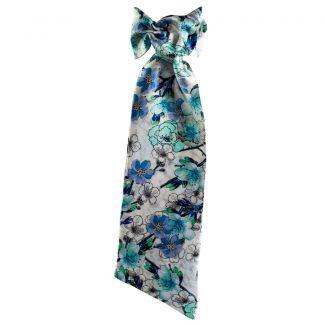 Blue Flowers Flounce Scarf