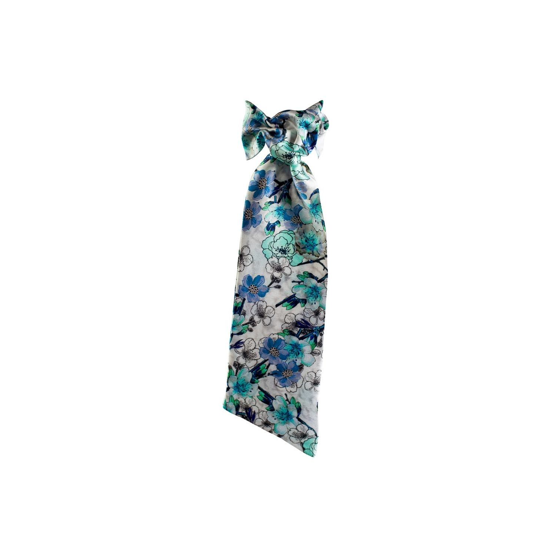 Eşarfă cu volan flori albastre
