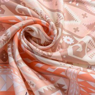 Silk scarf Motifs peach corai