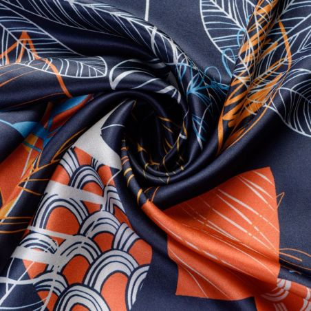 Silk scarf S Graphic Dance navy