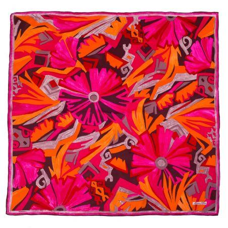 Eşarfă mătase naturală fucsia cu portocaliu