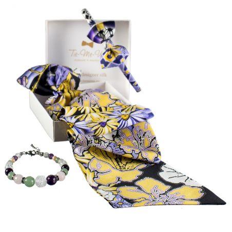 Cadou: Eşarfă cu volan şi Headband mătase naturală floricele lavandă