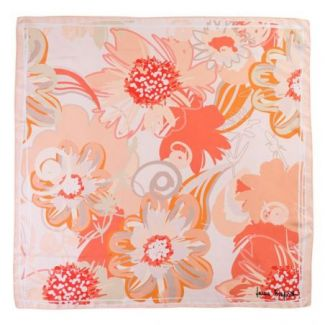 Silk scarf Coral Flower Kiss