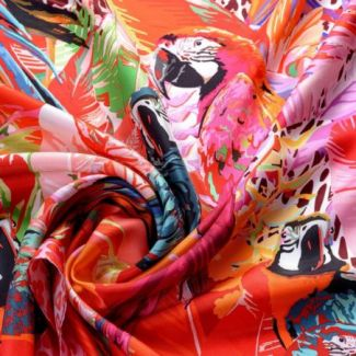 Silk scarf Party Parrots Pink