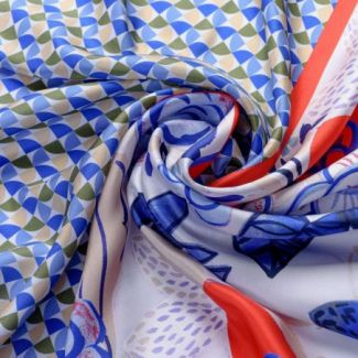 Silk scarf Catchy Look blue