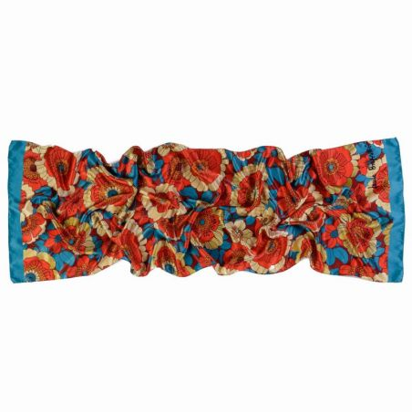 Silk shawl Sunset Garden red