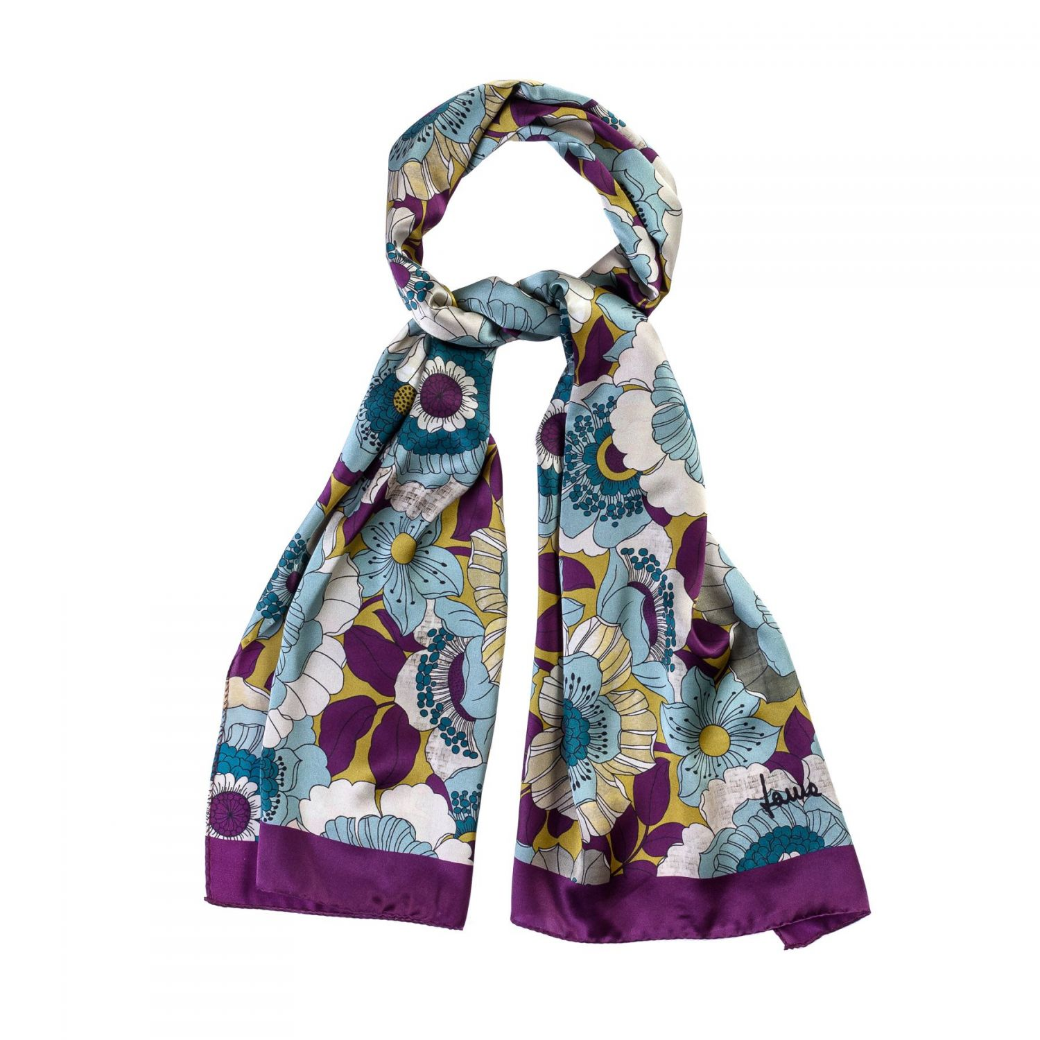 Silk shawl Sunset Garden purple