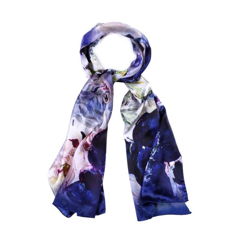 Silk shawl Flower Fever Dark Blue