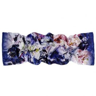 Silk shawl Flower Fever Dark Blue