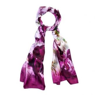 Silk shawl Flower Fever Purple