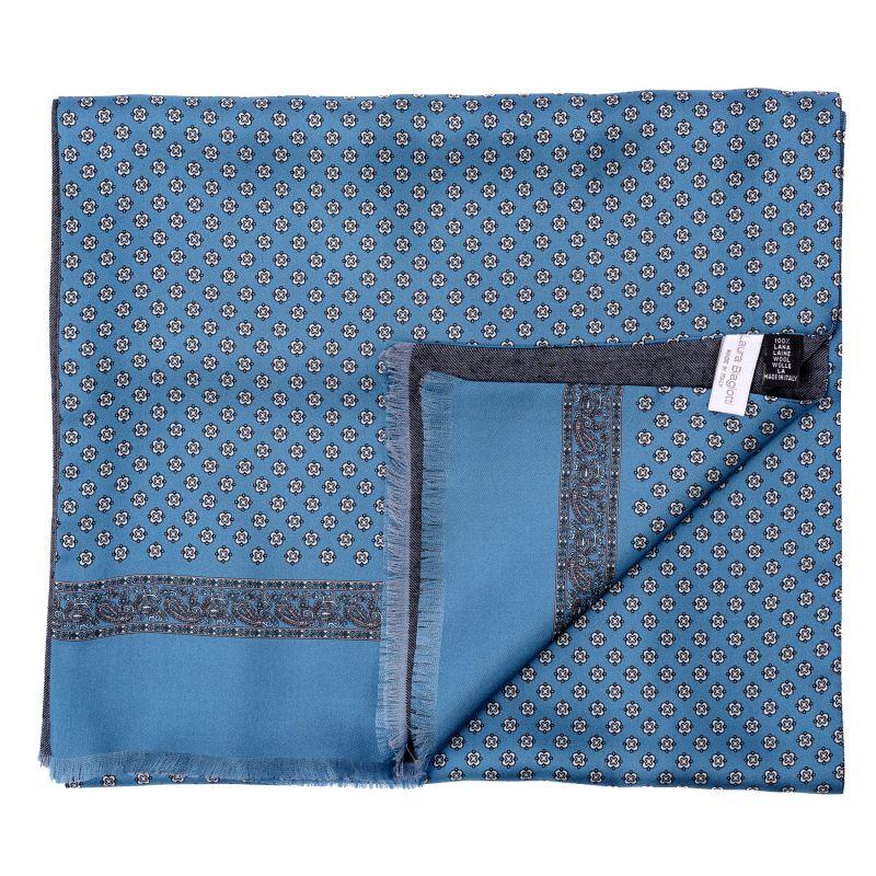 Men scarf silk and wool Sevilla blue