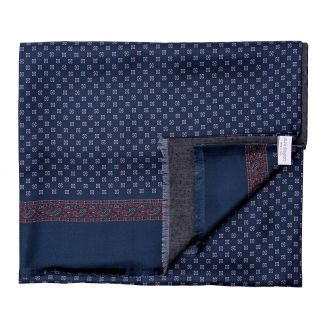 Men scarf silk and wool Sevilla navy-mauve