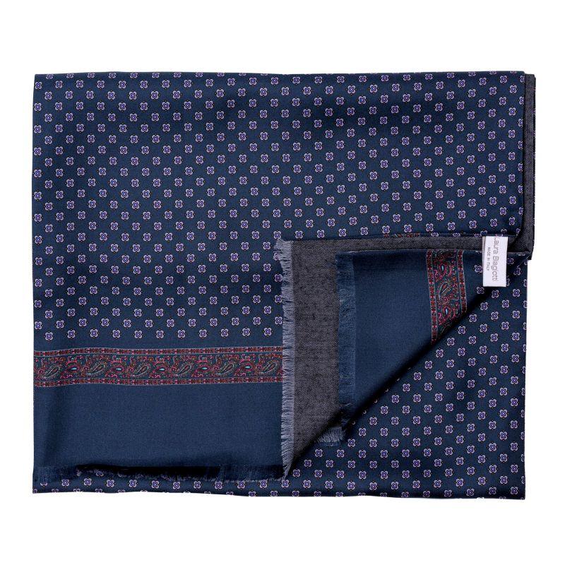 Men scarf silk and wool Sevilla navy-mauve