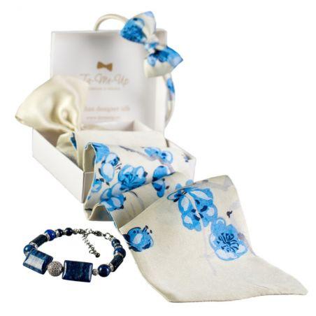 Cadou: Eşarfă mătase naturală cu volan şi Headband C'est Moi