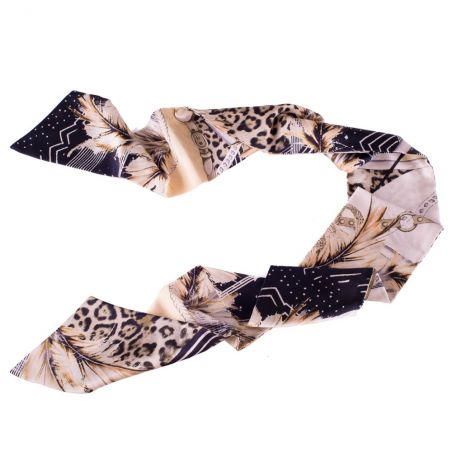Animal print and straps Silk Scarf