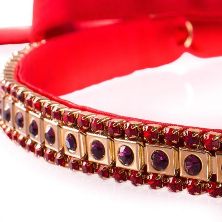 Metallic headband with purple and red gemstones