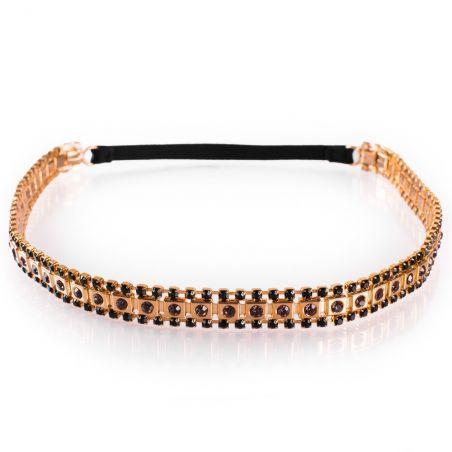Headband Glamour cu pietre semipreţioase negre şi mov
