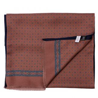 Men scarf silk and wool L. Biagiotti Luton brown-navy