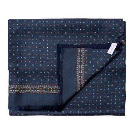 Men scarf silk and wool L. Biagiotti Luton navy-bordeaux