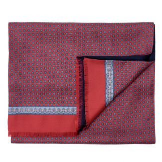 Men scarf silk and wool L. Biagiotti Perugia red-navy
