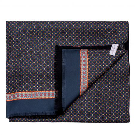 Men scarf silk and wool L. Biagiotti Perugia navy-yellow