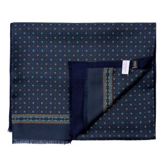 Men scarf silk and wool L. Biagiotti Perugia navy-green