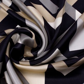 Silk Scarf Marina D'este Lost in geometry black