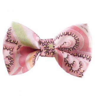 Pink-Grey Paisley Hair Bow