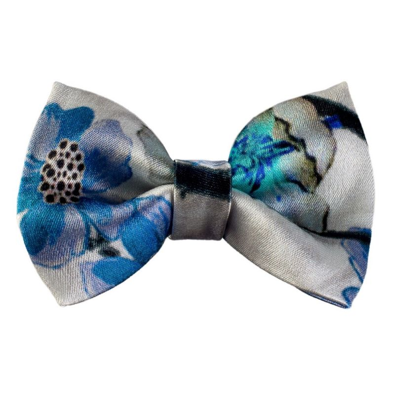 Blue Flowers Bow