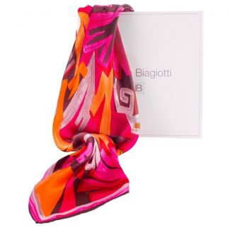 Marina D'Este orange and fuchsia Silk Scarf