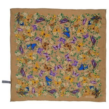 Eşarfă mătase naturală fluturi pe bej