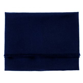 Wool and cashmere scarf Marina D'Este navy plain