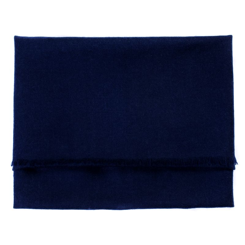 Wool and cashmere scarf Marina D'Este navy plain