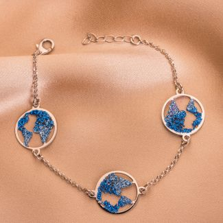 Gift Silk Scarf Moments Like This Navy and Silver Bracelet Beauty Of The World