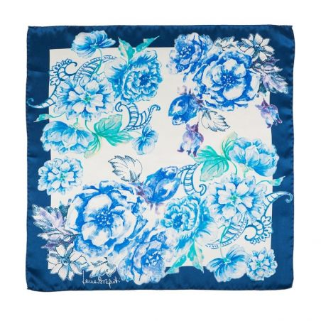 Esarfa matase naturala Laura Biagiotti spring flowers blu