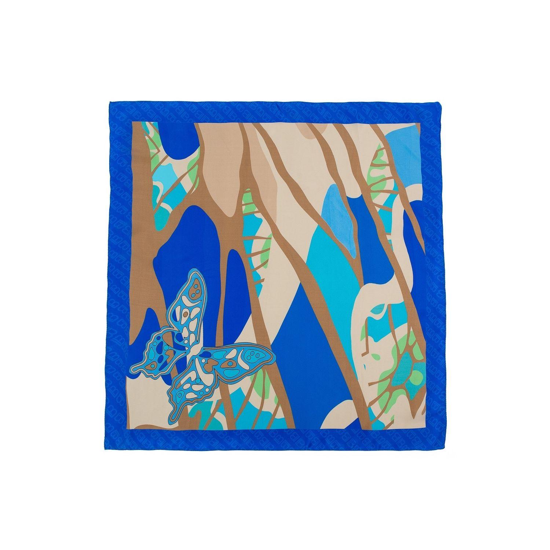 Eșarfă pătrată L. Biagiotti fluture albastru