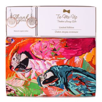 Gift Silk Scarf twill Party Parrots Pink and Silver Eraings Dream Big