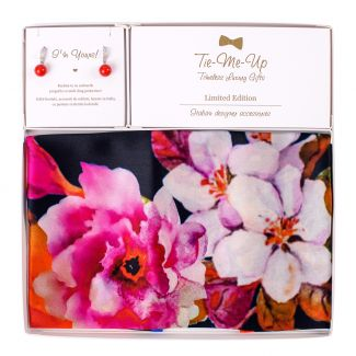 Set Esarfa matase Flower Sensation Red si Cercei argint zirconia scoica rosie
