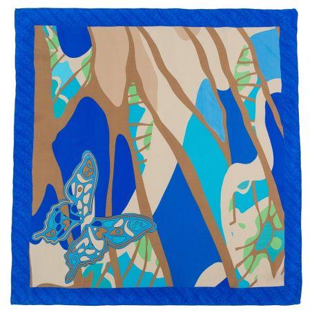 Cadou: Eșarfă pătrată L. Biagiotti fluture albastru și fundiță