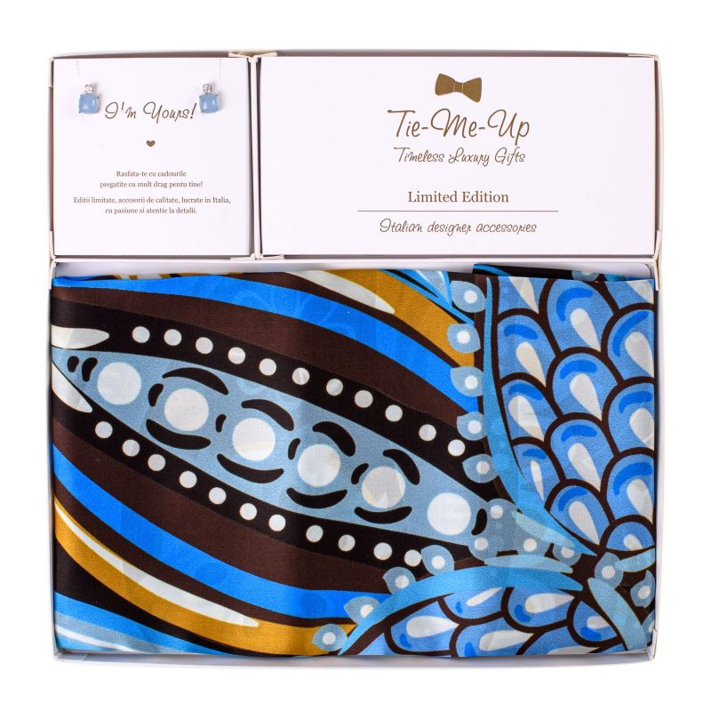 Gift Silk Scarf Fairy Tale Blue and Silver Earings Aqua Milk
