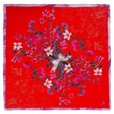 Eșarfă mătase naturală buchet flori