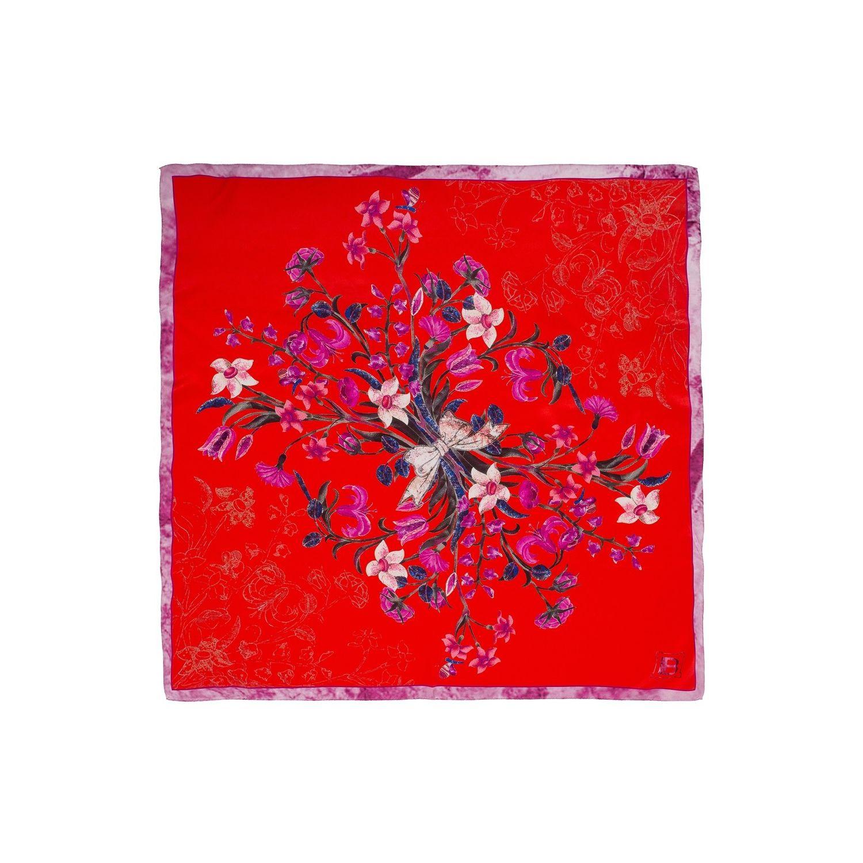 Eșarfă pătrată L. Biagiotti buchet flori