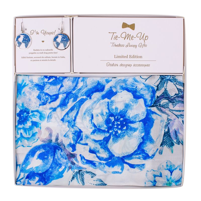 Set Esarfa matase spring flowers blu si Cercei argint Beauty Of The World